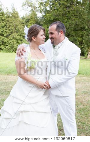 Real Couple In Wedding Day In Summer