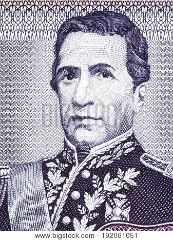 Andres de Santa Cruz portrait from Bolivian money