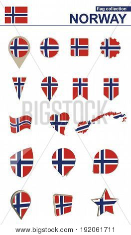 Norway Flag Collection. Big Set For Design.