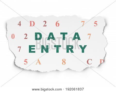 Information concept: Painted green text Data Entry on Torn Paper background with  Hexadecimal Code