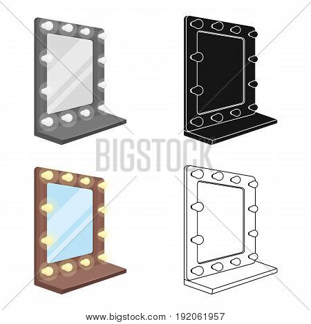 Mirror in the make-up room.Making movie single icon in cartoon style vector symbol stock illustration .