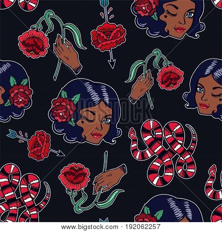 Seamless pattern with sexy dark girl, femininity related classic flash tattoo style elements. Design for textiles and print in 90's comic style. Pop art item. Fashionable vintage repeating background.
