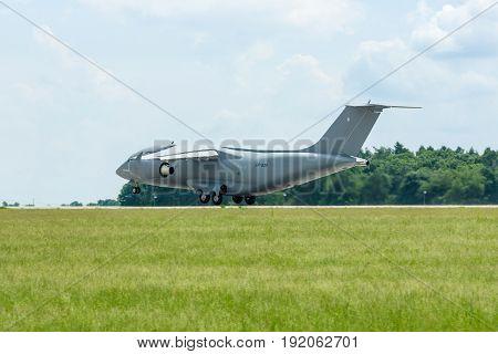 BERLIN GERMANY - JUNE 02 2016: Takeoff a military transport aircraft Antonov An-178. Exhibition ILA Berlin Air Show 2016