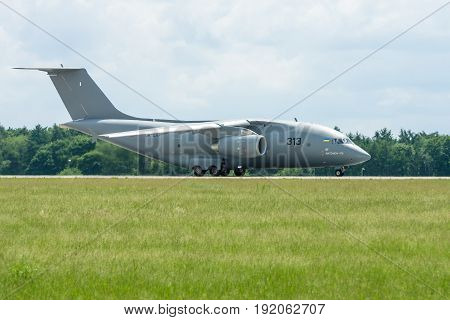 BERLIN GERMANY - JUNE 02 2016: Preparing for takeoff military transport aircraft Antonov An-178. Exhibition ILA Berlin Air Show 2016