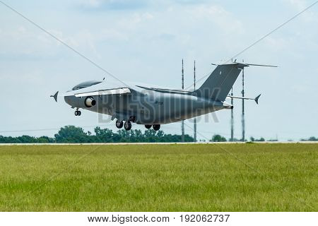 BERLIN GERMANY - JUNE 02 2016: Takeoff a military transport aircraft Antonov An-178. Exhibition ILA Berlin Air Show 2016