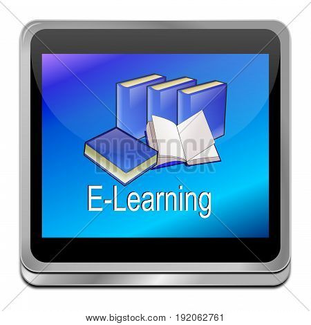 decorative glossy blue E-Learning Button - 3D illustration