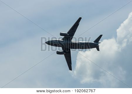 BERLIN GERMANY - JUNE 02 2016: Demonstration flight of military transport aircraft Antonov An-178. Exhibition ILA Berlin Air Show 2016
