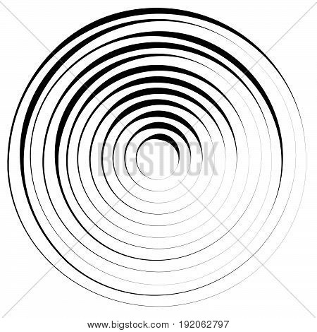 Radial Lines With Rotating Distortion. Abstract Spiral, Vortex Shape, Element