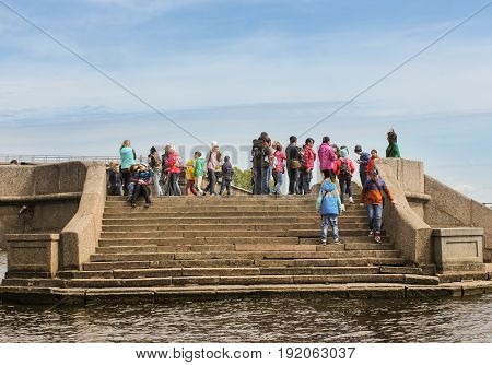 St. Petersburg Russia - 28 May, Granite stairs of the Commandant's Wharf,28 May, 2017. Famous sightseeing places of St. Petersburg for tourists.