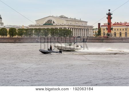 St. Petersburg Russia - 28 May, Speedboat on the Neva,28 May, 2017. Famous sightseeing places of St. Petersburg for tourists.