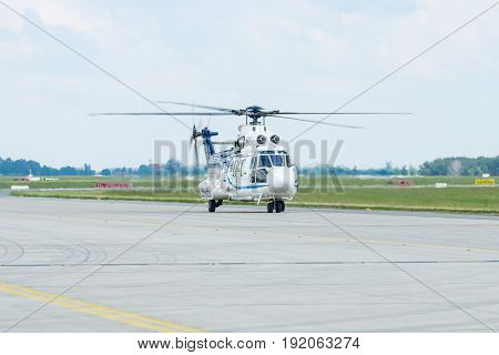 "BERLIN GERMANY - JUNE 02 2016: Medium utility helicopter Eurocopter AS532U2 ""Cougar"". German Air Force (Luftwaffe). Exhibition ILA Berlin Air Show 2016"