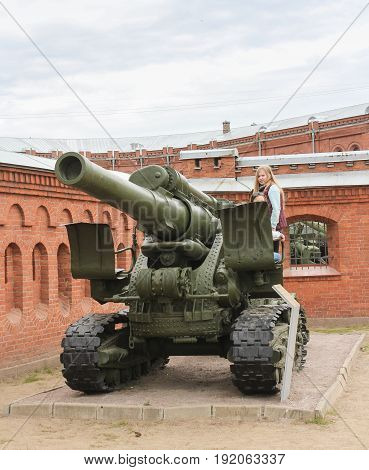St. Petersburg Russia - 28 May, The howitzer of high power of the sample in 1931,28 May, 2017. Military History Museum of combat equipment in St. Petersburg.