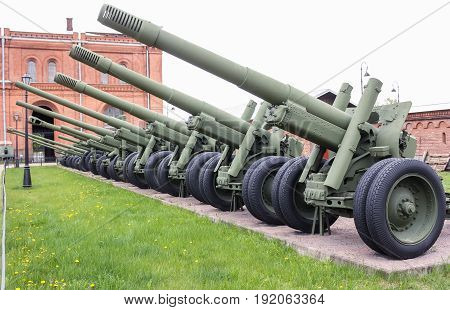 St. Petersburg Russia - 28 May, Artillery exposure in the open air,28 May, 2017. Military History Museum of combat equipment in St. Petersburg.