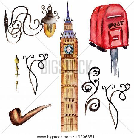 Watercolor London illustration. Great Britain hand drawn symbols.Big Ben. Aquarelle elements for background, texture, wrapper pattern.
