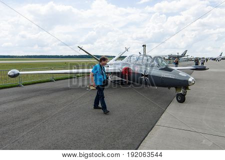 BERLIN GERMANY - JUNE 02 2016: The two-seat jet trainer Fouga Magister CM-170. Exhibition ILA Berlin Air Show 2016