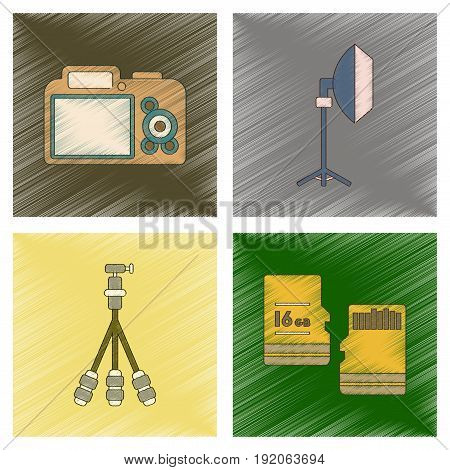 assembly flat shading style icon of photo camera professional lighting tripod micro SD
