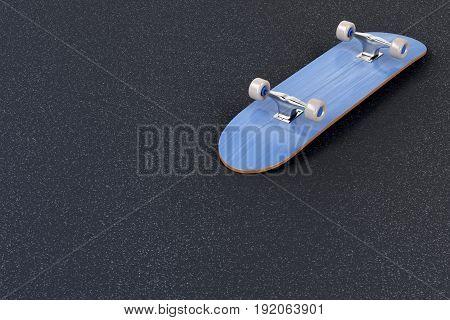 Brand new skateboard on asphalt, 3D illustration