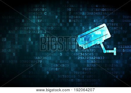 Safety concept: pixelated Cctv Camera icon on digital background, empty copyspace for card, text, advertising