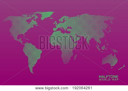 Halftone dotted vector world map in green color with violet background