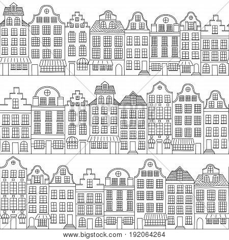 Seamless pattern with townhouses in european style. Hand drawn houses. Endless background. Black and white.