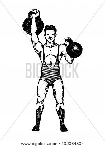 Circus athlete with a dumbbell vector illustration. Scratch board style imitation. Hand drawn image.