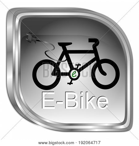 decorative silver E-Bike Button - 3D illustration