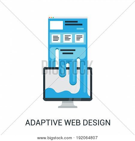 Adaptive web design abstract vector illustration in flat style. Website flows to the computer.