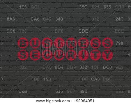 Safety concept: Painted red text Business Security on Black Brick wall background with Hexadecimal Code