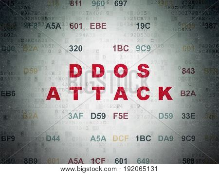 Privacy concept: Painted red text DDOS Attack on Digital Data Paper background with Hexadecimal Code