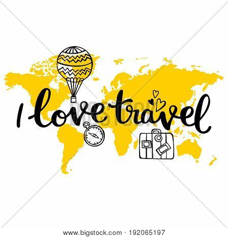 Yellow map of world. I love travel. Balloon, compass, suitcase and hearts. Isolated vector object on white background.