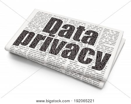 Safety concept: Pixelated black text Data Privacy on Newspaper background, 3D rendering