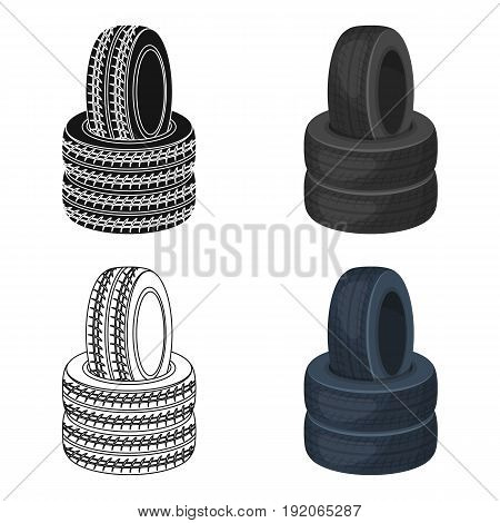 Barricade of tires.Paintball single icon in cartoon style vector symbol stock illustration .