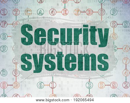 Protection concept: Painted green text Security Systems on Digital Data Paper background with  Scheme Of Hexadecimal Code