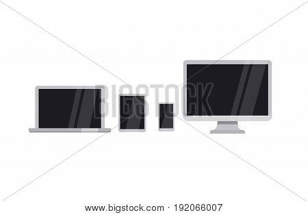 Device icons. Set of digital tablet, desktop computer laptop and smartphone.