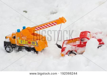 Car toy in snow toys in the winter