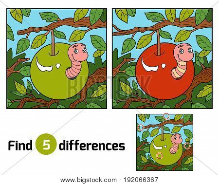 Find Differences, Worm In Apple