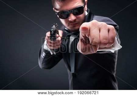 Young Criminal Or Gangster With Armed Pistol