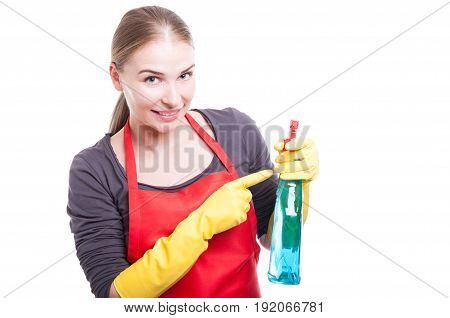 Pretty Smiling Housekeeper With Cleaning Spray
