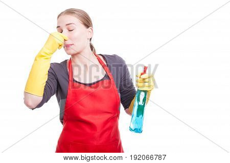 Female Maid Being Disgusted By Aweful Smell