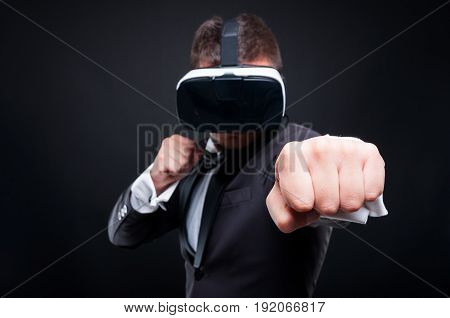 Violent Male Playing Game Thru Vr Glasses