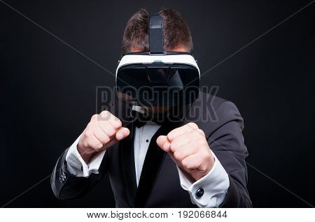 Aggressive Gamer With Virtual Reality Goggles