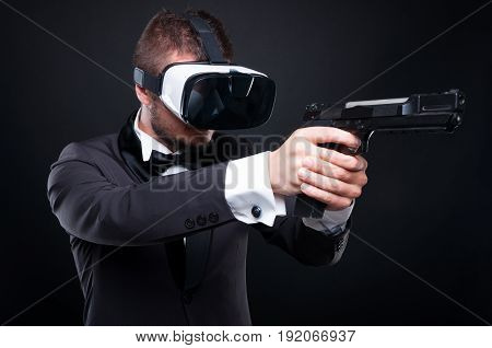 Dangerous Man With A Gun And Vr Goggles