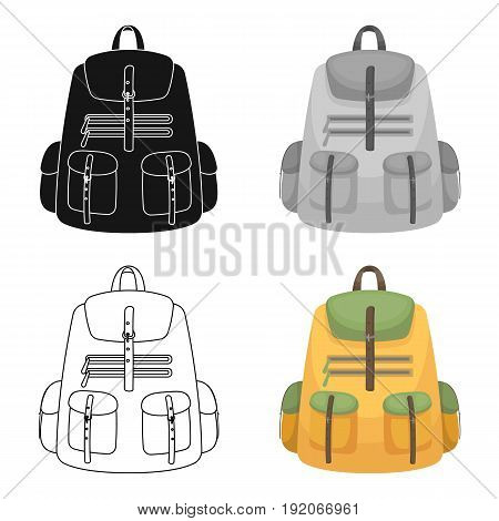 A backpack for things.Tent single icon in cartoon style vector symbol stock illustration .