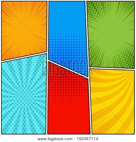 Colorful blank comic page background with rays radial dotted and halftone effects in pop-art style. Vector illustration