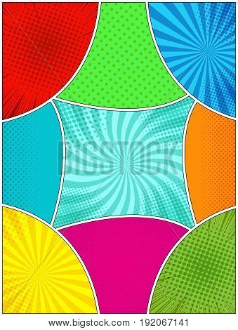Bright blank comic page template with colorful backgrounds and rays radial dotted halftone effects in pop-art style. Vector illustration