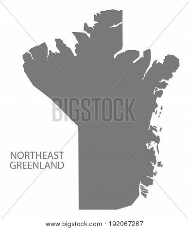 Northeast Greenland map grey illustration silhouette shape