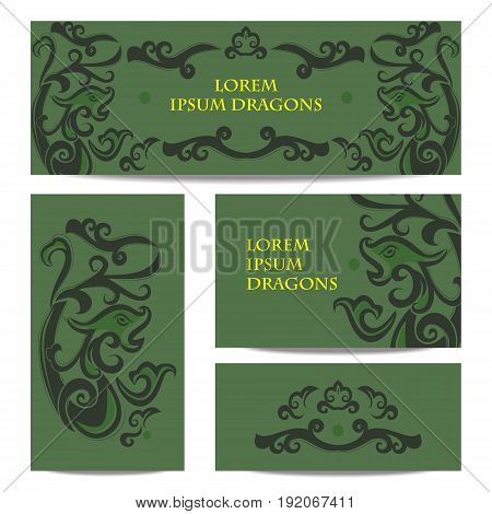Dragon in Chinese style. Set of banners of green color in the style of jade stones.