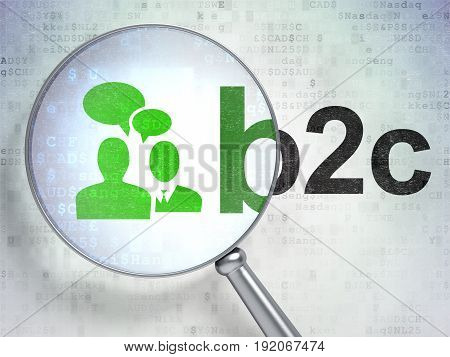 Finance concept: magnifying optical glass with Business Meeting icon and B2c word on digital background, 3D rendering