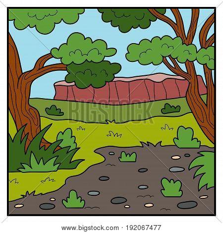 Vector nature illustration, color cartoon Australian background