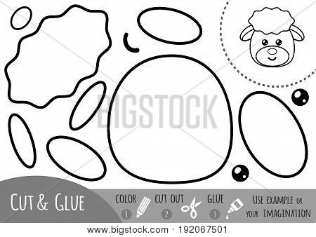 Education paper game for children, Sheep. Use scissors and glue to create the image.